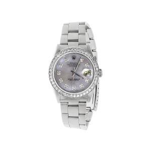 Rolex 36 mm Datejust Oyster Quickset Stainless Steel 3.0 Ct Diamond Mens Watch