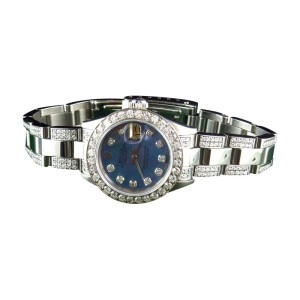 Rolex Ladies Stainless Steel Datejust Jubilee 6 Ct Diamond Blue MOP Dial Watch