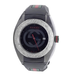 Gucci YA137101 Sync Pave Set 3.5 Ct Diamond 46mm Mens Watch