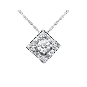 14K White Gold Diamond Halo Womens Pendant Necklace