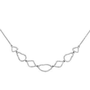 14K White Gold Stylish Round Genuine .50ct Diamond Ladies Necklace