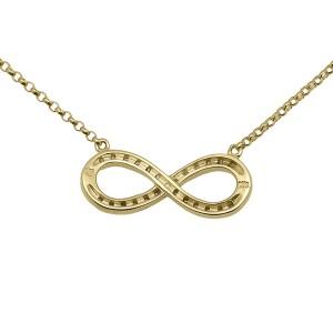 10K Yellow Gold Sideway Infinity Love Round 16in .25ct Diamond Ladies Necklace
