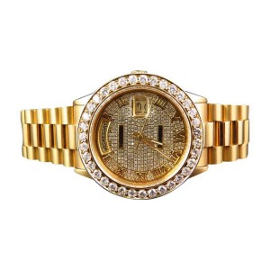 Rolex President 18038 18k Yellow Gold Day-Date with 6.5 Ct Diamond Mens 36mm Watch