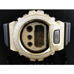 G-Shock 6900 Yellow Gold Clear Simulated Diamond Mens Watch