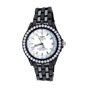 Breitling Chronometre 15.5 Ct Black Pvd Diamond Brand New Unisex 38 mm Watch