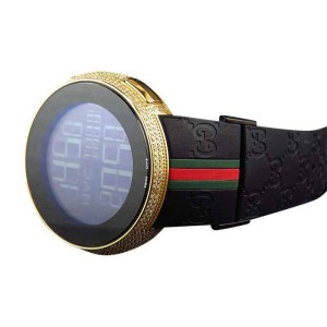 Gucci YA114207 Digital Yellow Gold 4 Ct Full Diamond Custom New Mens Watch