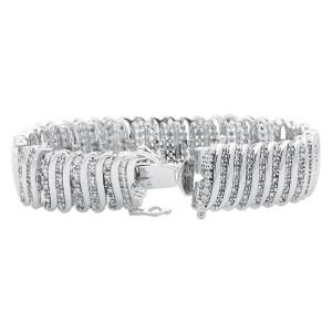 White Gold Plated Diamond Bracelet