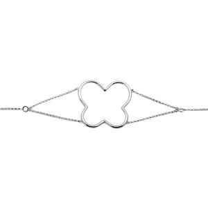 14K White Gold Open Four Leaf Clover One Row 0.55 ct. Diamond Fashion Bracelet