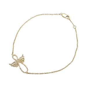 14K Yellow Gold Infinity Symbol-Shaped Angel 0.25ct. Diamond Fashion Bracelet