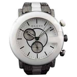 Gucci YA101345 44mm Diamond 6.5Ct White Ceramic PVD G 101 Mens Watch