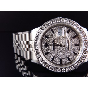 Rolex Datejust Jubilee 36 MM Diamond Dial Watch 4 Ct Stainless Steel Mens Watch