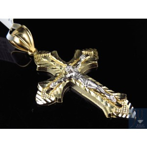 10K Two Tone Gold Crucifix Diamond Cut Cross Pendant Charm