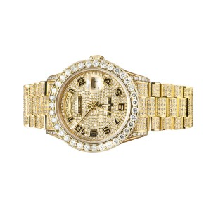 Rolex 18038 18K Yellow Gold 36MM Presidential Day-Date 15 Ct Diamond Mens Watch