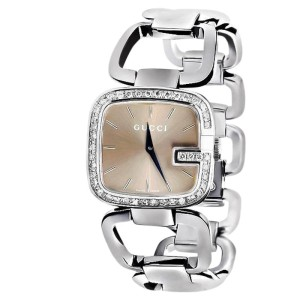 G-Gucci YA125402 Black Dial Genuine Diamond Stainless Steel Swiss Watch