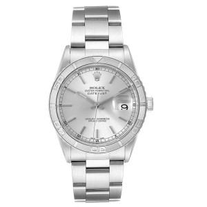 Rolex Turnograph Datejust Steel White Gold Silver Dial Mens Watch 16264