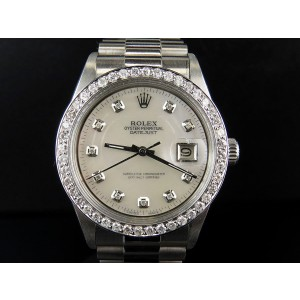Rolex 2.5 Ct Stainless Steel  Datejust Presidential 36mm Mother Pearl Mens Vintage Watch