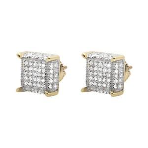 10K Yellow Gold Square Cube Diamond Stud Earrings