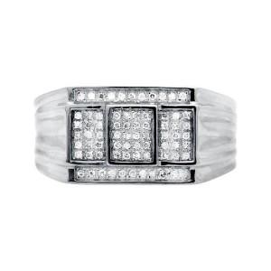 10K White Gold Three Cube Window Composite Genuine Diamond Ring Band