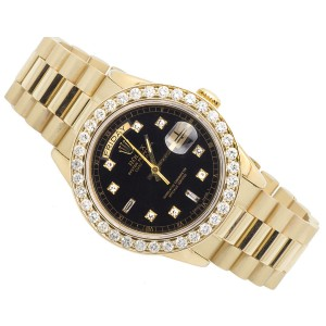 Rolex 18K Mens Yellow Gold Presidential Day-Date 36mm Diamond Watch