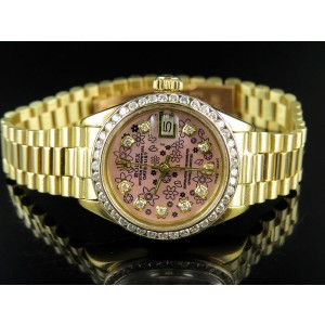 Rolex President Datejust 18K Yellow Gold Pink Dial Diamond Ladies 26 mm Watch
