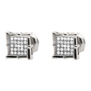 10K White Gold Wood-like Diamond Stud Earring