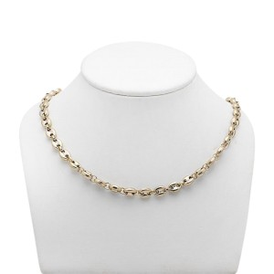 10K Yellow Gold Puffed Mariner Link Chain Necklace
