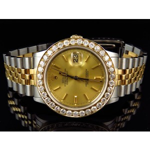 Rolex Datejust Two Tone 18K Stainless Steel Gold 5ct Diamond Mens 36mm Watch