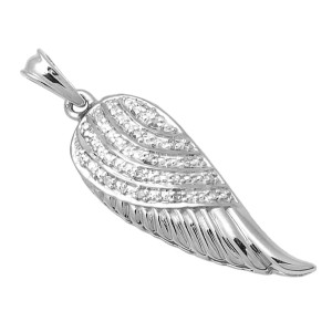 White Gold Plated Sterling Silver Single Angel Wing Diamond Pendant