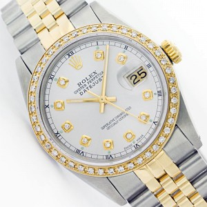 Rolex Datejust 16013 Jubilee Stainless Steel & 18K Yellow Gold White Diamond Watch
