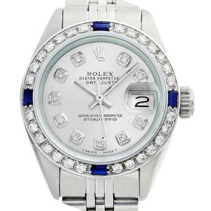 Rolex Datejust Oyster Perpetual Stainless Steel Silver Diamond/Sapphire Watch