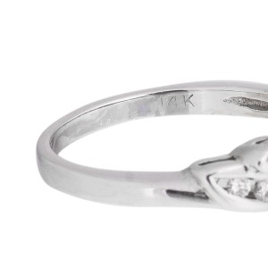 14k White Gold Diamond Engagement Ring With Marquise Blue Sapphires And Channel Set Round Brilliants