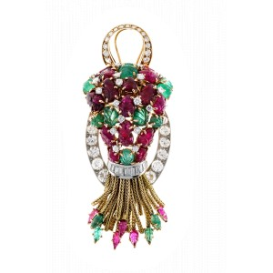 Vintage Carved 1950 No Heat Ruby Bright Green Emerald Diamond Pin Pendant 18k
