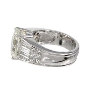 Vintage Rare 5.89ct White, Near Colorless Natural Sapphire Platinum Diamond enga