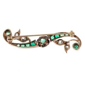 Vintage Top Gem Beryl Emerald Victorian 14k Silver Top Old Mine Cut Diamond Pin