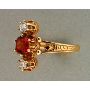 Estate 14k Yellow Gold Orangy Cushion Garnet Brilliant Cut Diamond Ring 1920