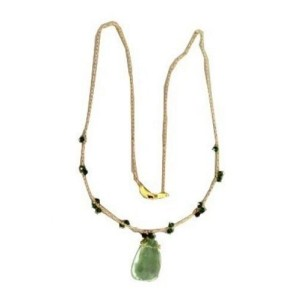 Estate Green Amethyst Turquoise Art Style 14k Yellow Gold Necklace 17 1/2 Chain