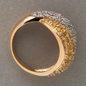 Vintage 1.00ct Yellow White Round Diamond 14k Two Tone Gold Bypass Ring