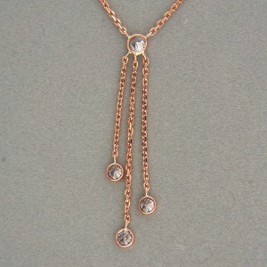 Vintage Diamond by The Yard .47ct Dangle Necklace 18 Inches 14k Pink Gold