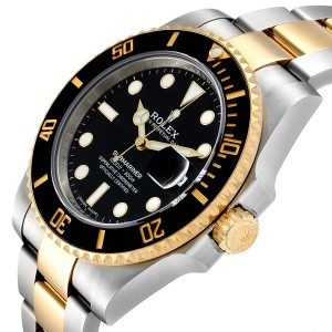 Rolex Submariner Steel Yellow Gold Black Dial Automatic Mens Watch 116613