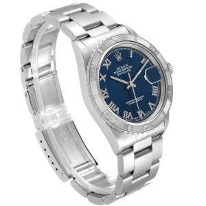 Rolex Turnograph Datejust Steel White Gold Blue Roman Dial Watch 16264 Papers