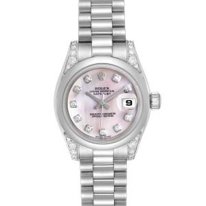 Rolex President Platinum MOP Diamond Ladies Watch 179296 Unworn