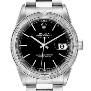 Rolex Turnograph Datejust Steel White Gold Black Dial Mens Watch 16264