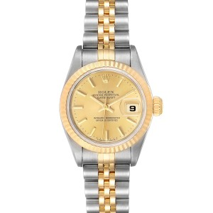 Rolex Datejust Steel Yellow Gold Fluted Bezel Ladies Watch 69173
