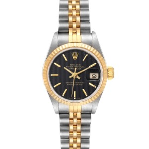 Rolex Datejust Steel Yellow Gold Black Dial Ladies Watch 69173 Box