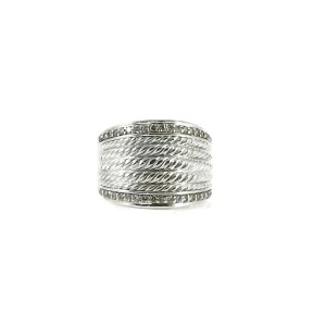 David Yurman Wheaton 925 Sterling Silver with 0.49tcw Diamond Band Ring Size 8