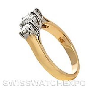 14K Yellow & White Gold Three Stone Diamond Ring