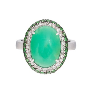 18k White Gold Green Chrysoprase Green Tsavorite Diamond Ring