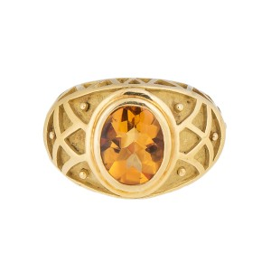 Uniquely Crafted 18k Yellow Gold Citrine Ring