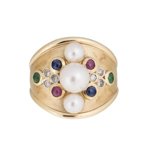 14k Yellow Gold enhanced Ruby Sapphire Emerald  Diamond and  Cultured Pearl Ring