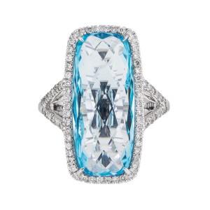 Elegantly Stylish 14k White Gold 13.69 Ct. Blue Topaz & Diamond Ring